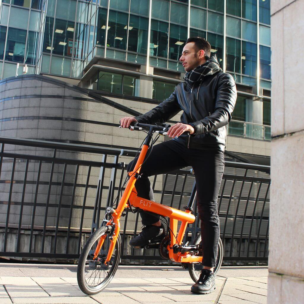 Flit16 lightweight folding ebike Blaze Orange