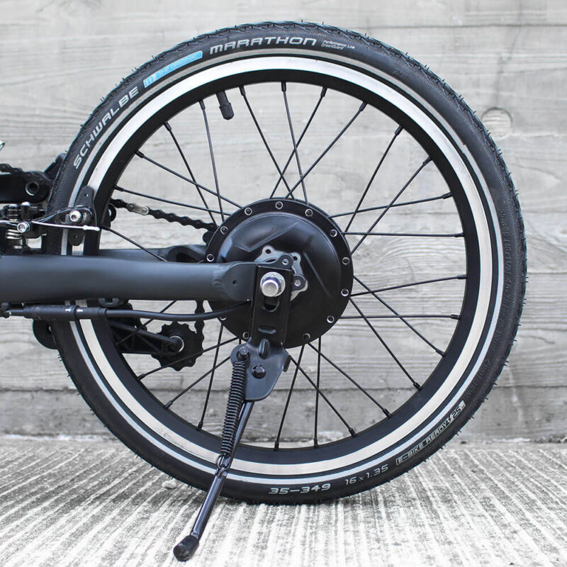 FLIT16 lightweight folding ebike - kickstand 3